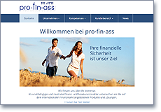 Homepage pro-fin-ass GmbH